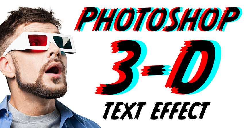 Photoshop retro 3D anaglyph text effect tutorial
