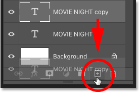 Making a second copy of the type layer in Photoshop's Layers panel