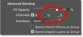 Turning off the Green and Blue channels in Photoshop's Blending Options
