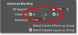 Turning the Green channel off and the Red and Blue channels on in Photoshop's Blending Options.