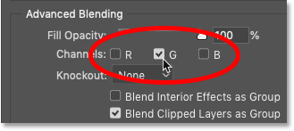 Turning the Green channel on and the Red and Blue channels off in Photoshop's Blending Options.