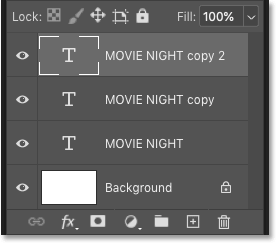 Photoshop's Layers panel showing the original type layer and two copies.