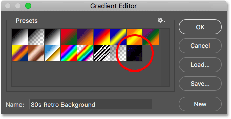 The 80s Retro Background gradient appears as a thumbnail in the Presets area.