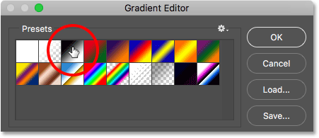 Choosing the Black, White gradient from the Presets.