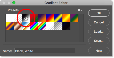 Choosing the Black, White gradient to start.