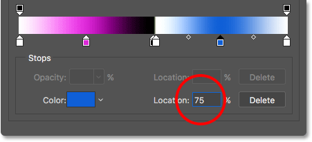 Setting the Location of the new color stop to 75 percent.