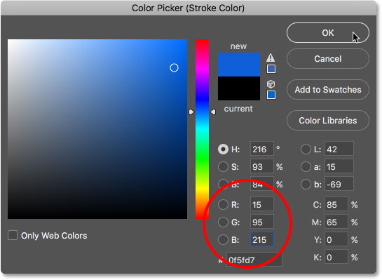 Changing the stroke color to blue.
