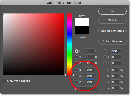 Choosing white for the type color from the Color Picker.
