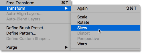 Choosing Skew from the Edit menu.