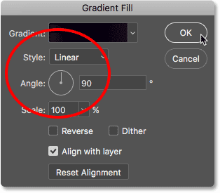 The Style and Angle options in the Gradient Fill dialog box.