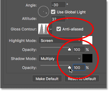 Increasing the Highlight Mode and Shadow Mode opacity values to 100 percent.