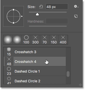 Selecting the 48 px Crosshatch 4 brush.