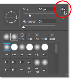 Opening the Brush Preset Picker menu.