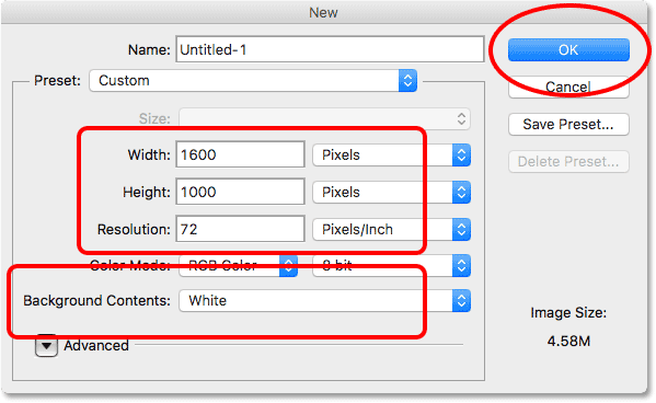 Setting the Width, Height, Resolution and Background Contents options in Photoshop CS6.