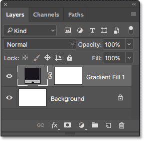 The Layers panel showing the Gradient fill layer.