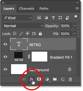 Clicking the Layer Styles icon at the bottom of the Layers panel.