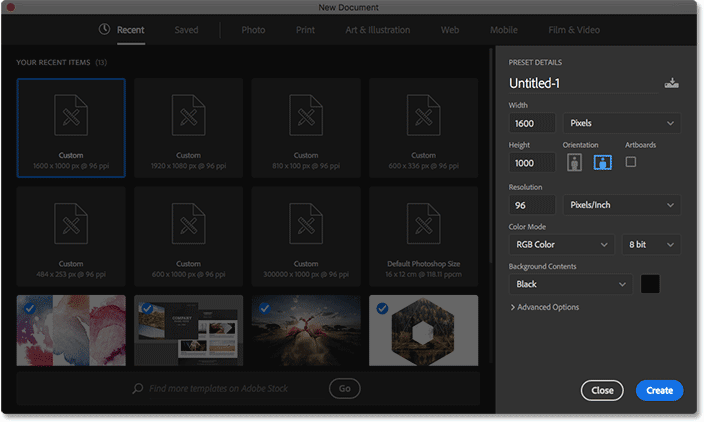 The redesigned New Document dialog box in Photoshop CC. The Preset Details panel is highlighted.