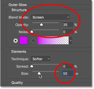 The Outer Glow options.