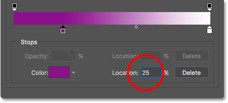Setting the Location to 25%.