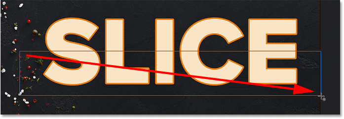 Drawing a rectangular path around the bottom half of the text in Photoshop
