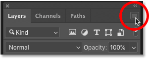 Clicking the Layers panel menu icon