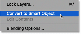 How to convert a Type layer to a smart object in Photoshop