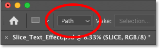Setting the tool mode for Photoshop's Rectangle Tool to Path in the Options Bar