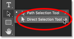 Selecting the Direct Selection Tool from the Toolbar in Photoshop