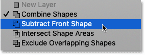 Choosing 'Subtract Front Shape' from the Path Operations menu in Photoshop