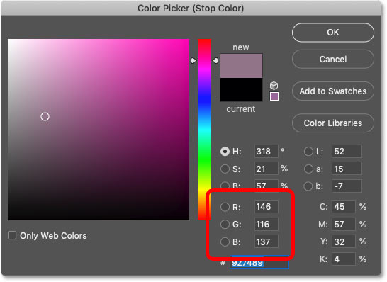 Using Photoshop's Color Picker to replace black in the gradient