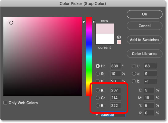 Using Photoshop's Color Picker to replace white in the gradient