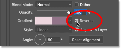 How to reverse the order of the gradient colors in Photoshop