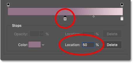 Changing the Location of the left gradient color to 50 percent in Photoshop's Gradient Editor