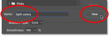 Naming and saving the gradient as a custom preset in Photoshop's Gradient Editor