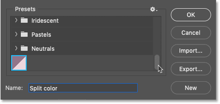 The gradient has been saved as a custom preset in Photoshoo's Gradient Editor