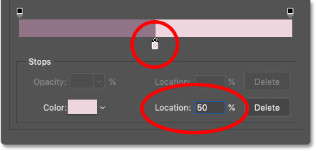 Changing the Location of the right gradient color to 50 percent in Photoshop's Gradient Editor
