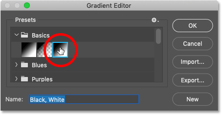 Choosing the Black, White gradient in Photoshop