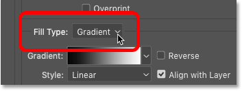 Setting the Stroke layer effect's Fill Type to Gradient in Photoshop