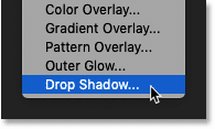 Choosing a Drop Shadow layer effect in Photoshop