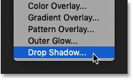 Choosing a Drop Shadow layer effect in Photoshop