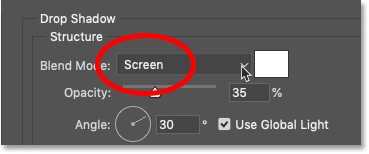 Changing the blend mode of the drop shadow to Screen in Photoshop