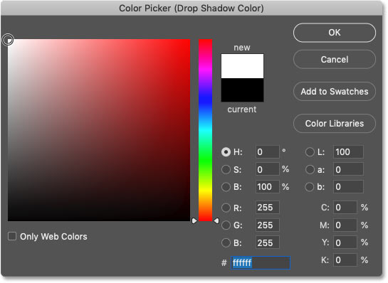 Setting the drop shadow's color to white in the Color Picker