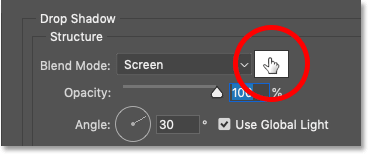 Clicking the Drop Shadow's color swatch to change the shadow color in Photoshop