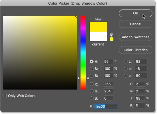 Choosing a new color for the spray paint text effect in Photoshop