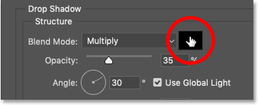 Clicking on the drop shadow's color swatch in Photoshop