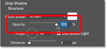 Increasing the opacity of the drop shadow to 100 percent in Photoshop
