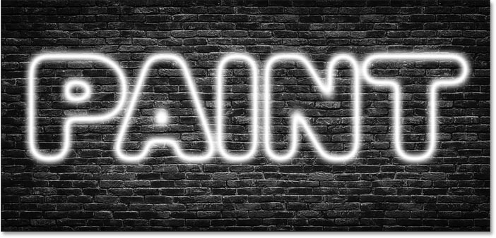 The text effect after increasing the Size value for the drop shadow in Photoshop