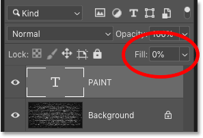 Lowering the Fill of the Type layer to 0 percent in Photoshop
