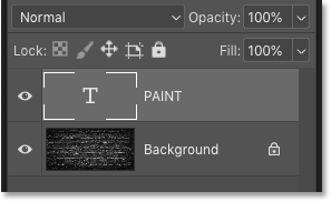 The text on its own Type layer in Photoshop's Layers panel