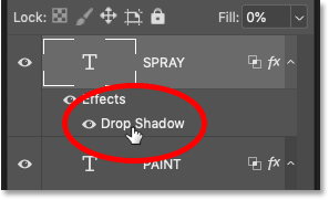 Reopening the Drop Shadow layer effect for the word 'SPRAY' in the Layers panel in Photoshop
